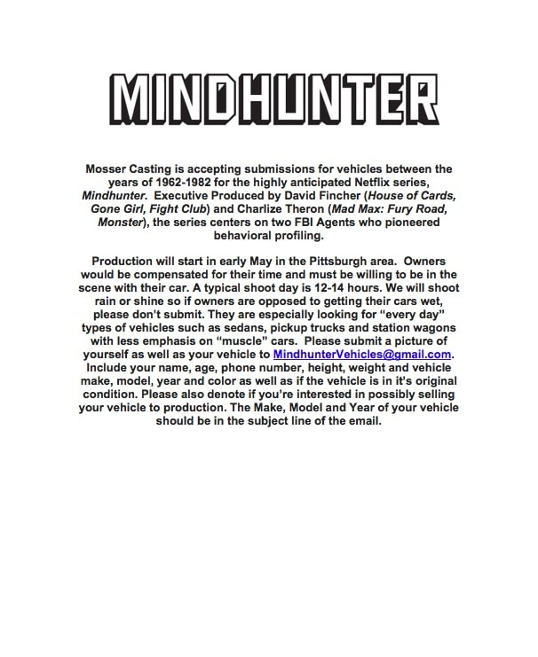 Mindhunter Vehicles